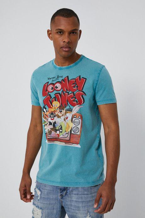 T-shirt męski z nadrukiem Looney Tunes turkusowy