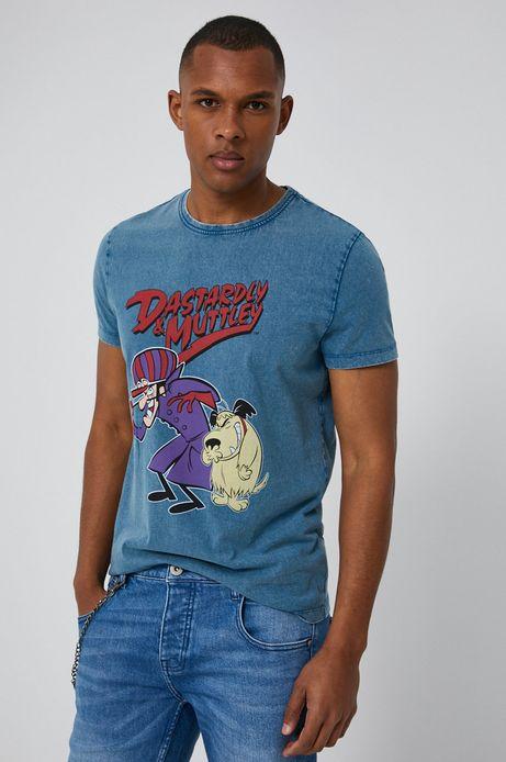 T-shirt męski z nadrukiem Dastardly i Muttley niebieski