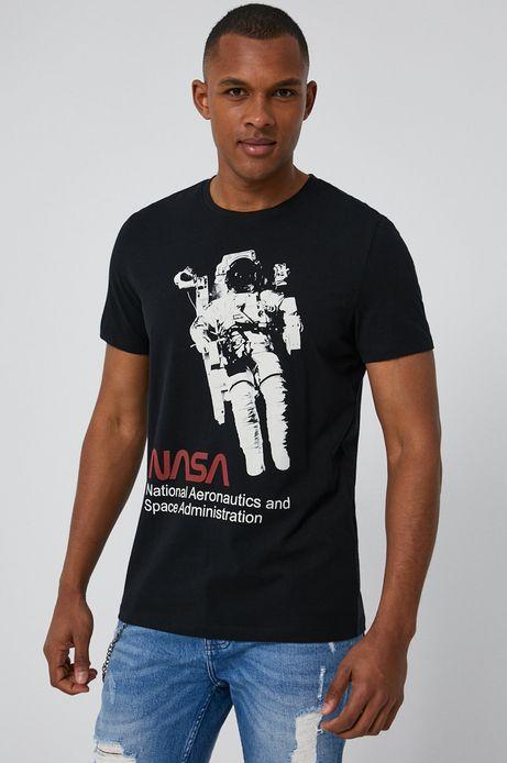T-shirt męski z bawełny organicznej z nadrukiem NASA czarny
