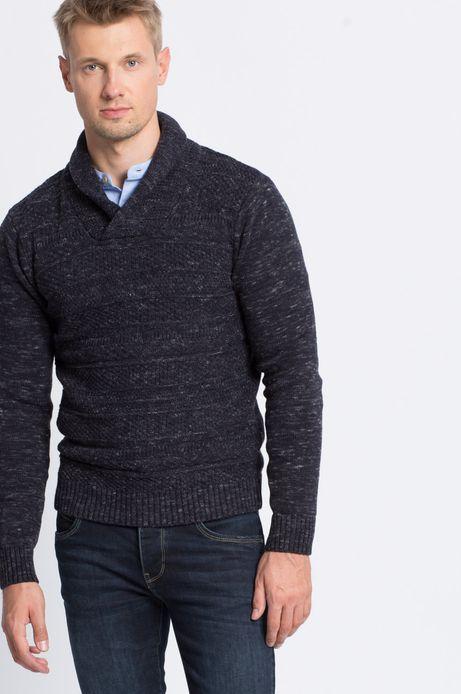 Man's Sweter Smart Winter granatowy