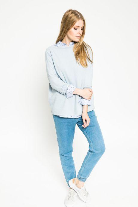 Bluza damska z gładkiej dzianiny niebieska