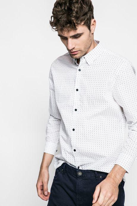 Man's Koszula Graphic Monochrome biała