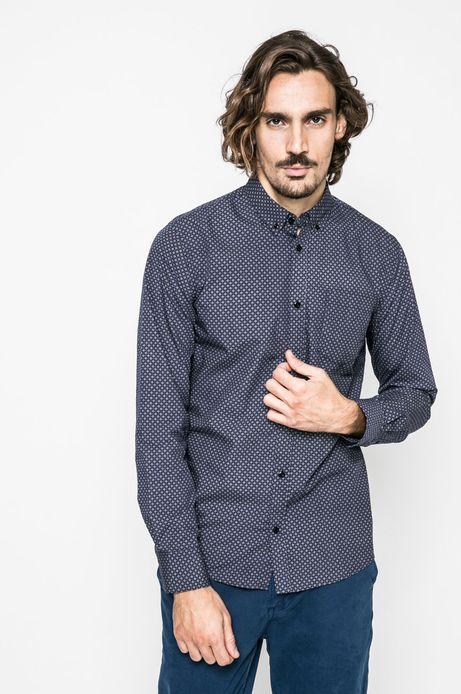 Koszula męska w drobny wzór niebieska