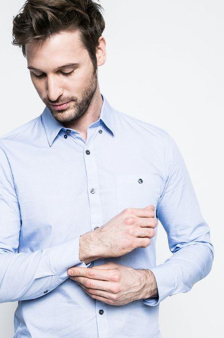 Bawełniana koszula męska w drobny wzór niebieska