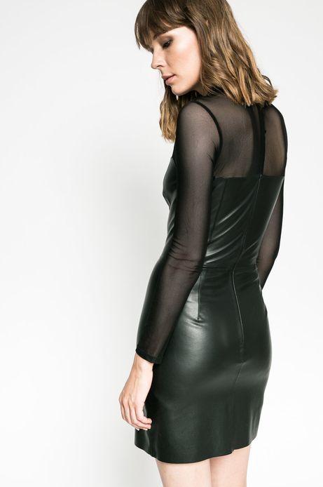 Sukienka damska z imitacji skóry czarna
