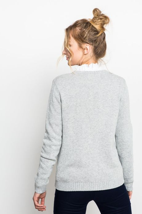 Sweter damski z aplikacją szary