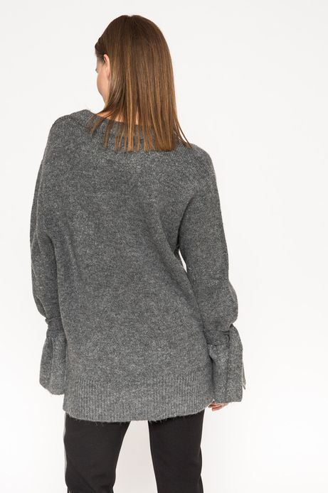 Woman's Sweter Grey Earth szary