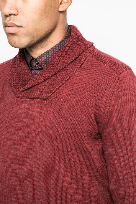 Sweter męski z podwyższonym kołnierzem czerwony