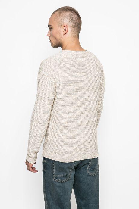 Sweter męski z bawełnianej dzianiny beżowy