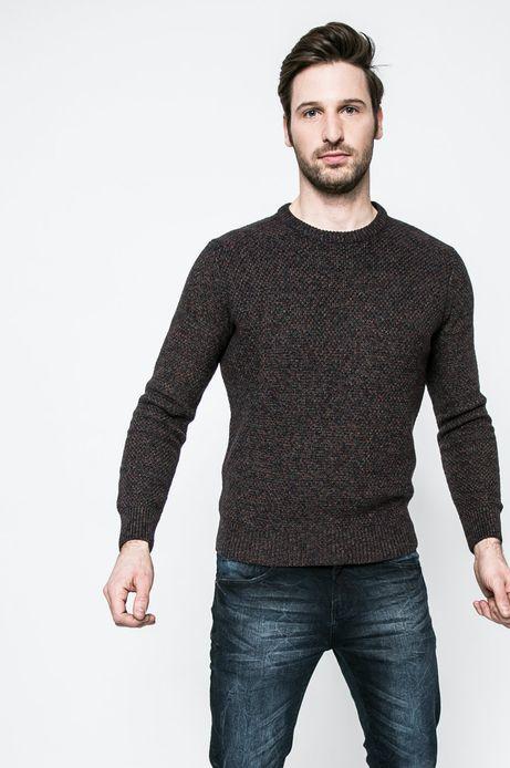 Sweter męski z bawełnianej dzianiny granatowy