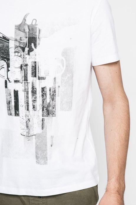 T-shirt Graphic Monochrome biały