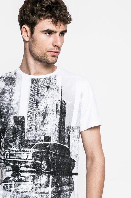 Man's T-shirt Graphic Monochrome biały