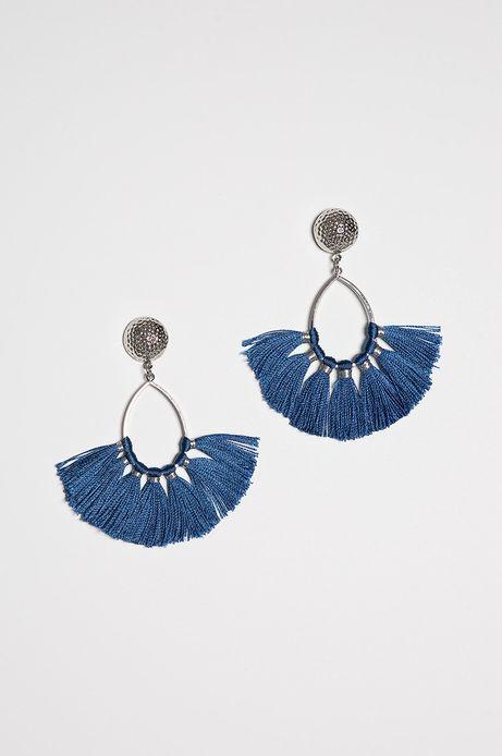 Kolczyki damskie niebieskie wiszące