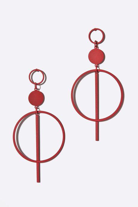 Kolczyki damskie metalowe czerwone