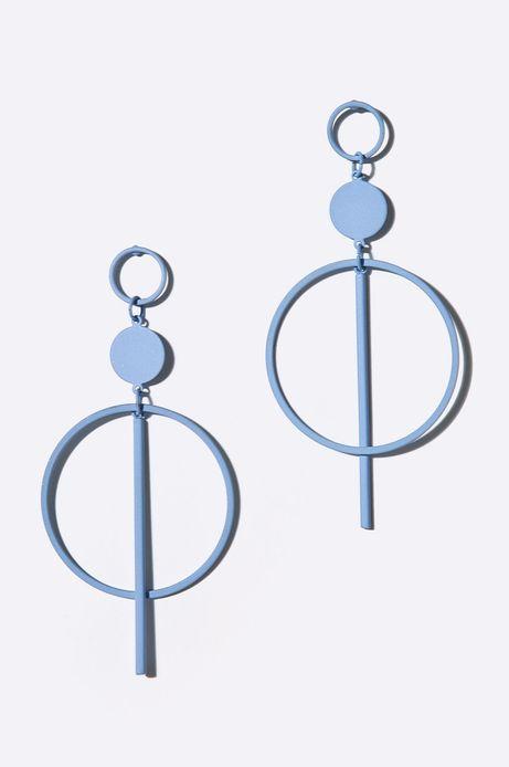 Kolczyki damskie metalowe niebieskie