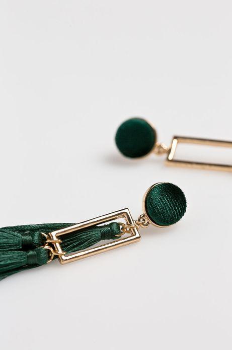Kolczyki damskie wiszące zielone