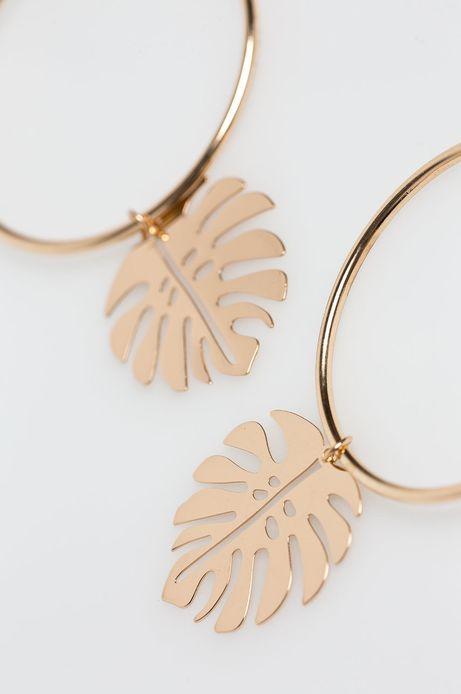 Woman's Kolczyki złote z zawieszką w kształcie liścia