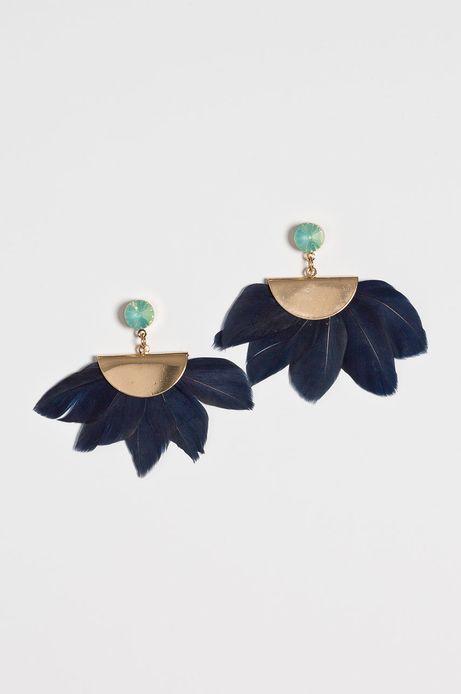 Kolczyki damskie granatowe z piórami