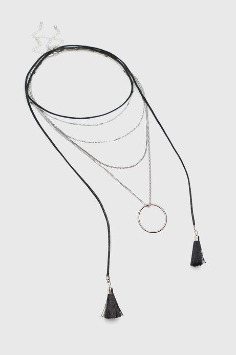 Naszyjnik damski czarny z łańcuszków