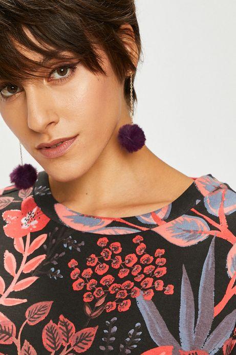 Kolczyki damskie fioletowe z pomponikiem
