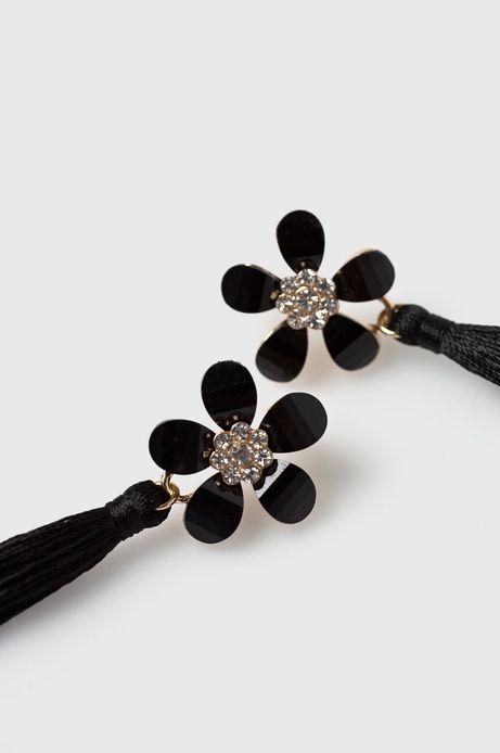 Kolczyki damskie czarne kwiaty z frędzlami