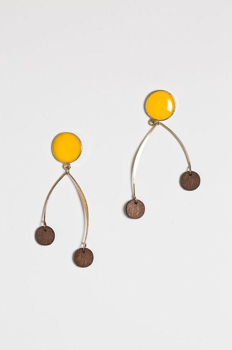 Kolczyki damskie żółte wiszące