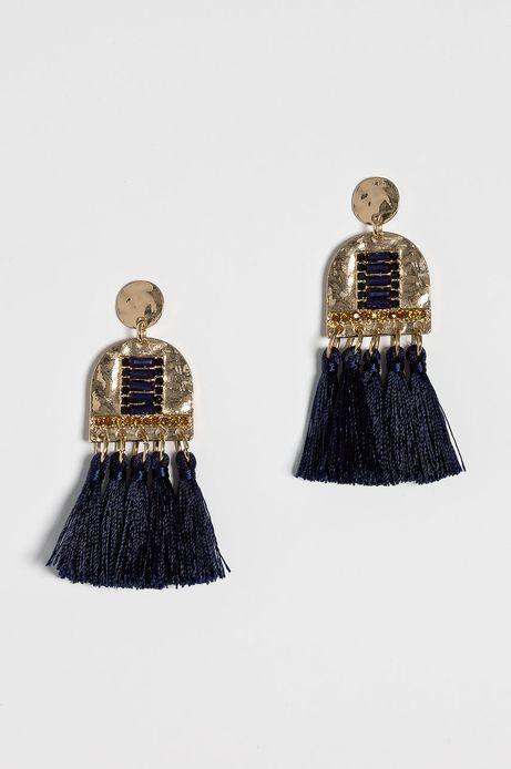 Kolczyki damskie granatowe z frędzelkami