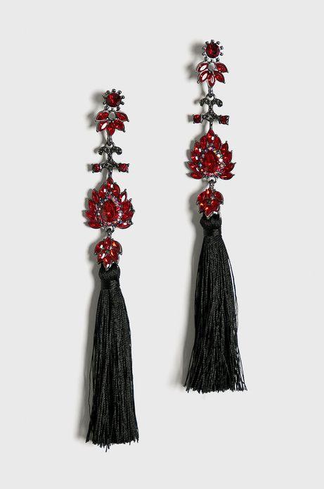 Kolczyki damskie czarne z frędzlami