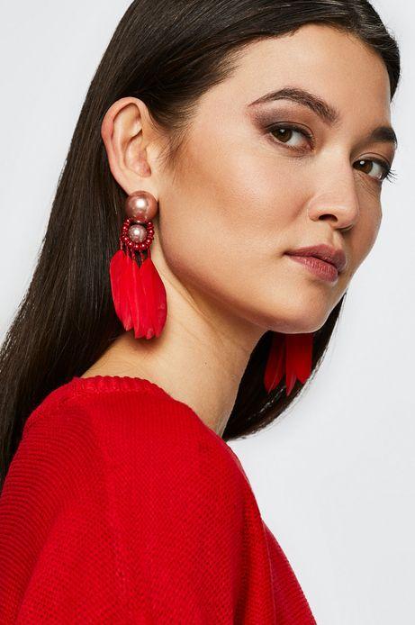 Kolczyki damska czerwone z piórami