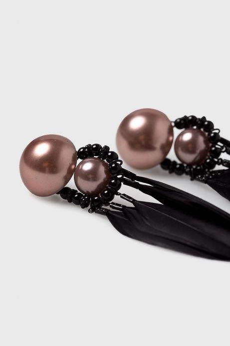 Kolczyki damskie czarne z piórami