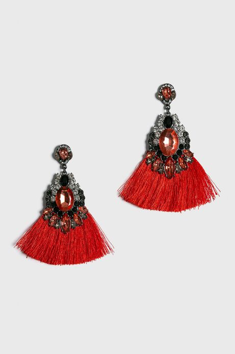 Kolczyki damskie czerwone wiszące