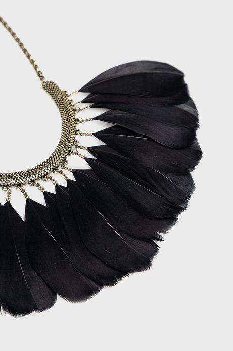 Naszyjnik damski czarny z piórami