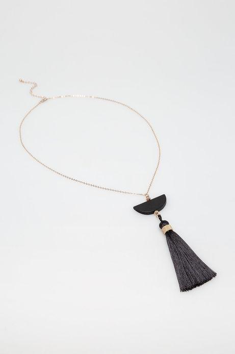 Naszyjnik damski czarny z ozdobna zawieszką