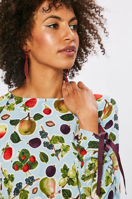 Bluzka damska niebieska w owoce