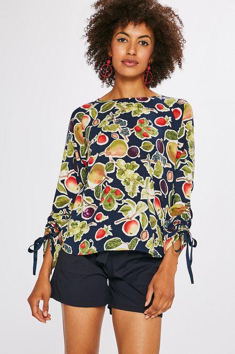 Bluzka damska granatowa w owoce