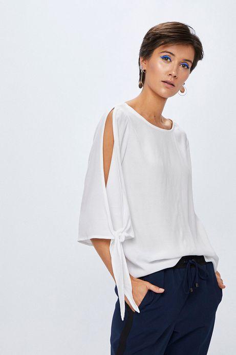 Woman's Bluzka damska biała gładka z wiązaniem