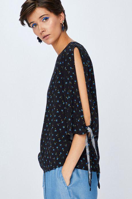 Woman's Bluzka damska czarna we wzory z wiązaniem
