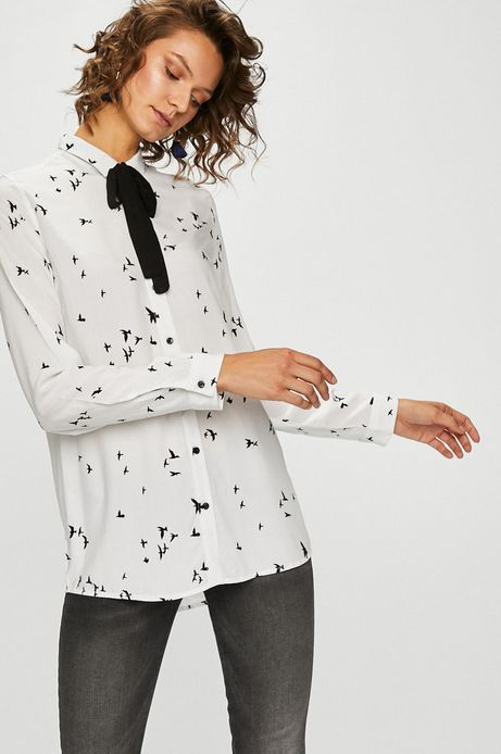Woman's Koszula damska biała w ptaki