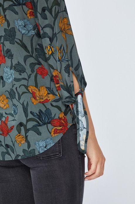 Bluzka damska zielona w kwiaty ze stójka
