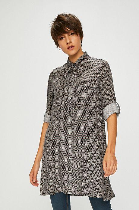 Koszula damska długa granatowa wzorzysta z wiązaniem