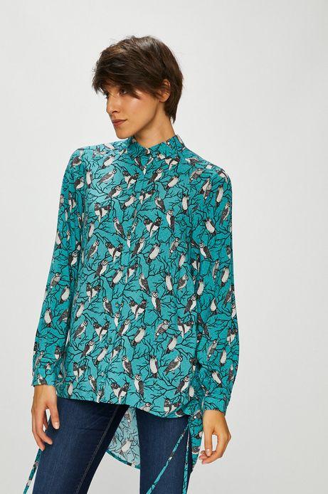 Koszula damska turkusowa w sowy