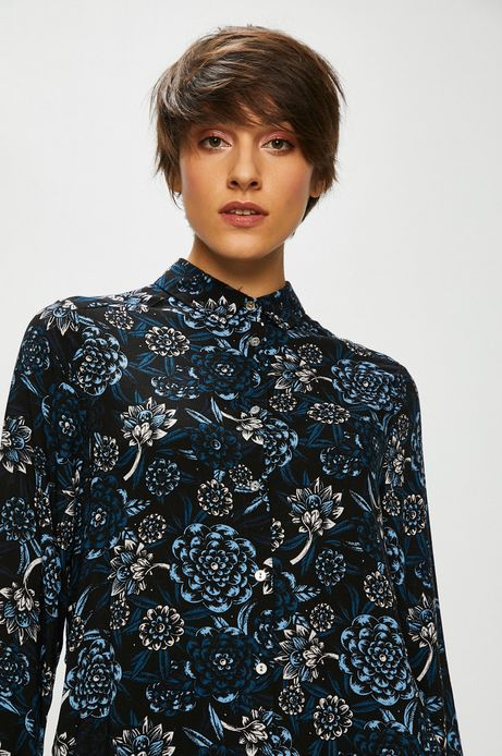 Koszula damska czarna w kwiaty