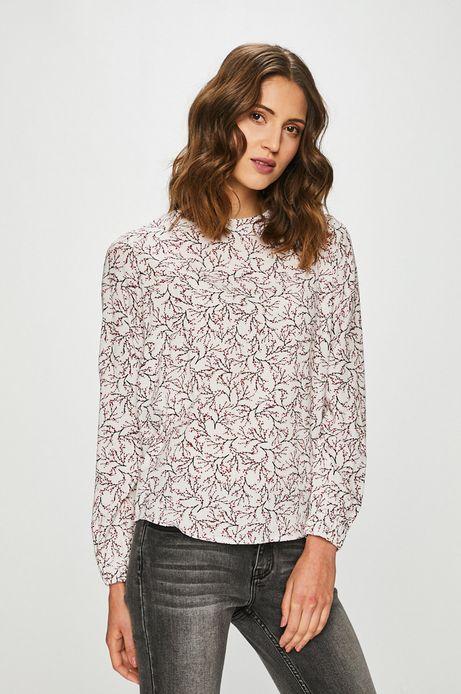 Koszula damska wzorzysta z ozdobnym wiązaniem biała