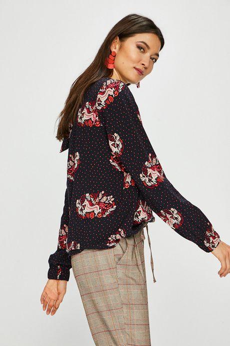 Koszula damska wzorzysta z wiązaniem na plecach granatowa