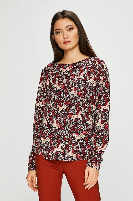Koszula damska wzorzysta z ozdobnym wiązaniem