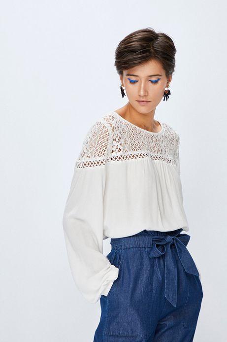 Bluzka damska biała z ozdobnymi wstawkami
