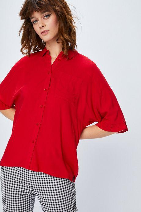 Woman's Koszula damska czerwona gładka z miękkim kołnierzykiem
