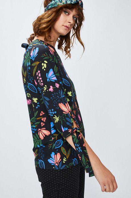 Koszula damska czarna w kwiaty z wiązaniem