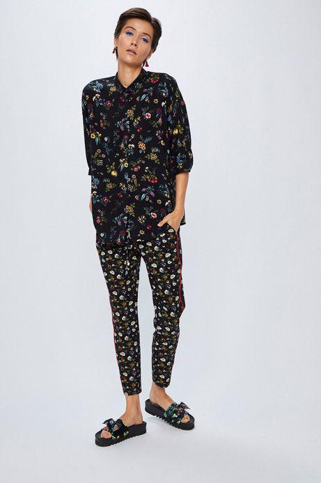 Koszula damska czarna luźna we wzory