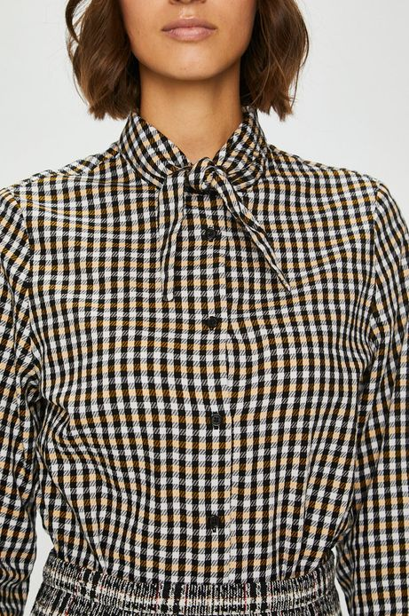 Koszula damska czarna w kratę z wiązanym kołnierzykiem